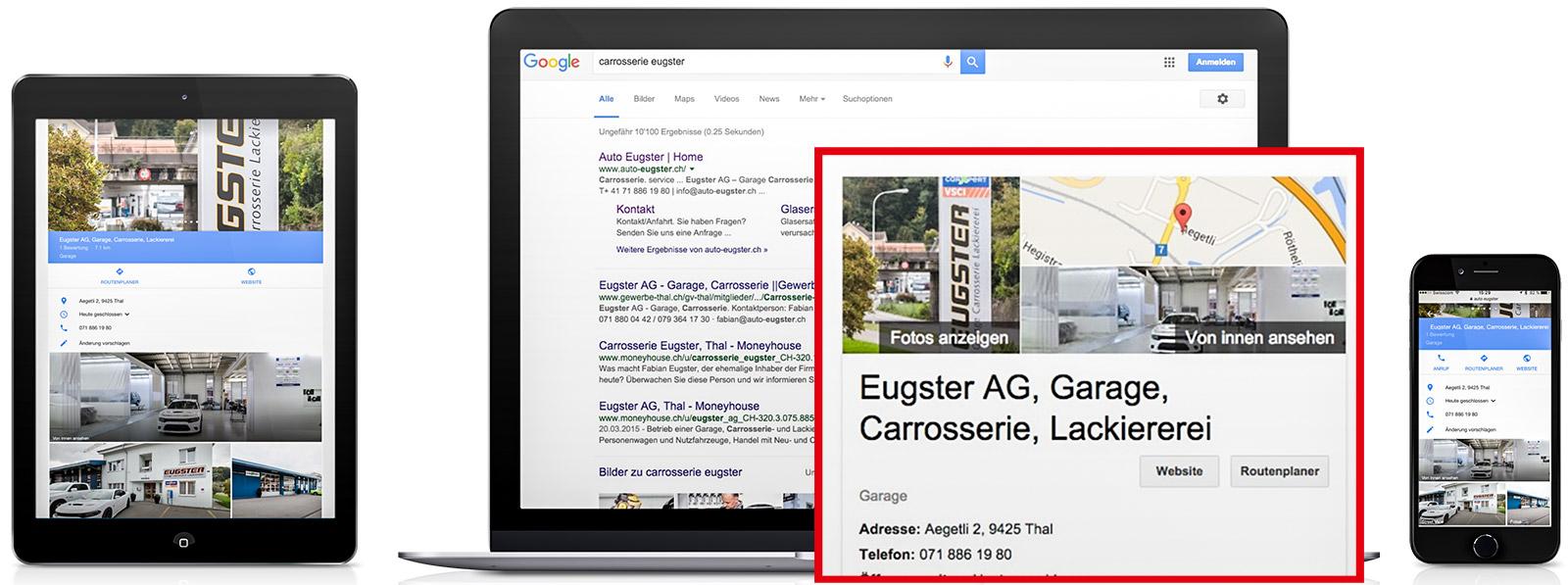 Aufwertung des Branchenbuch-Eintrags bei Google Suche, Maps und Street View durch den virtuellen Rundgang.