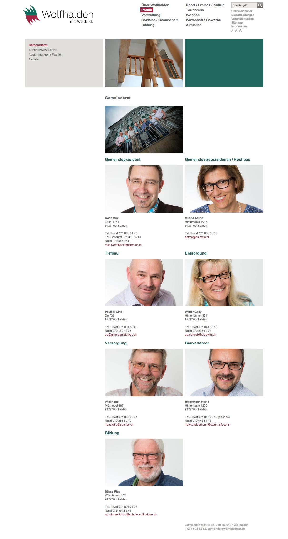 Moderne Porträtfotos des Gemeinderates und der Verwaltungsmitarbeiter.  Ein Auftrag der Gemeinde Wolfhalden.