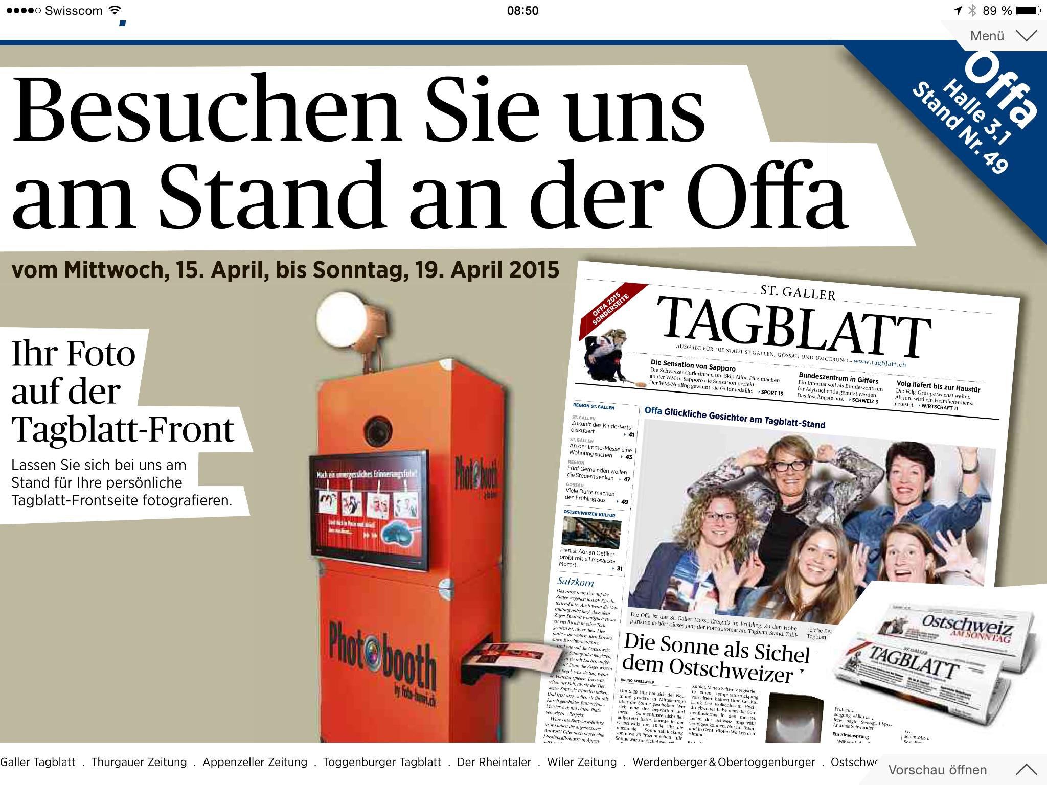 Tagblatt-Photobooth an der OFFA  2015 / Halle 3.1 / Stand 49