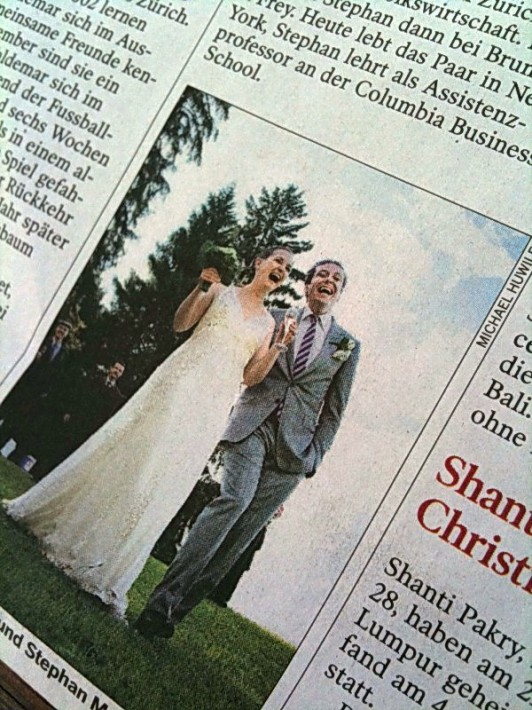 NZZ Ausgabe vom 26. Juli 2009 über die Hochzeit von Elisabeth und Stephan in Flüeli-Ranft.